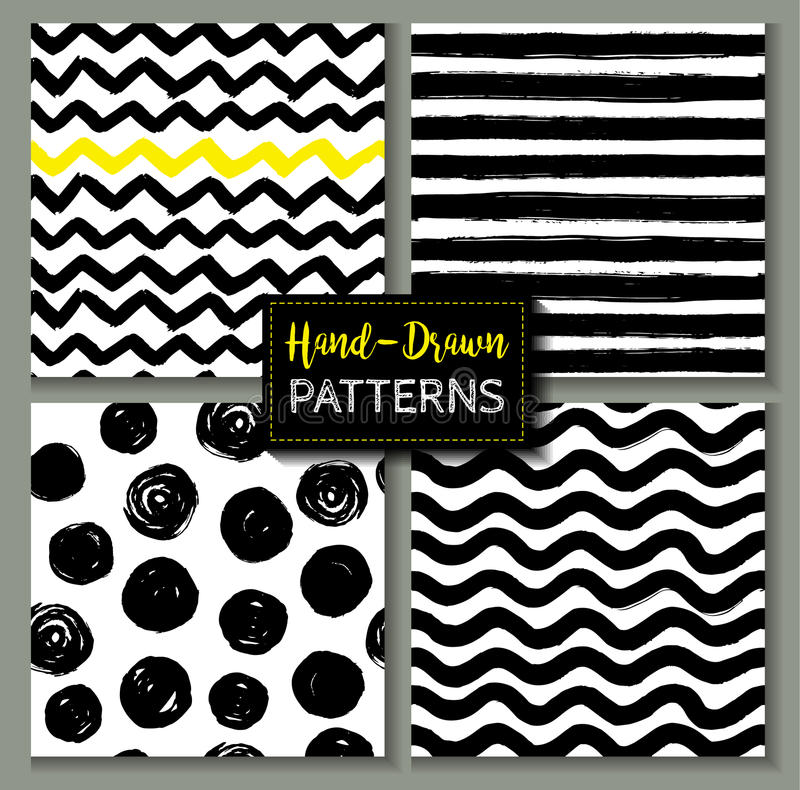 Hand drawn set of geometric patterns. vector illustration