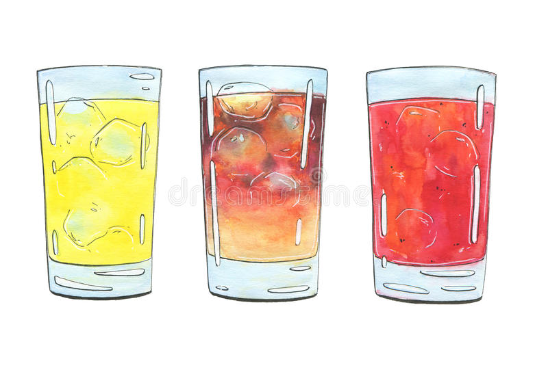 Hand drawn set of graphic watercolor cocktails on white background vector illustration