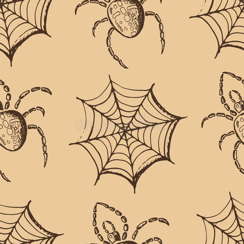 Hand drawn set of halloween attributes, brown webs and spiders on a beige background. Seamless pattern, hand drawn set of halloween attributes, brown webs and royalty free illustration
