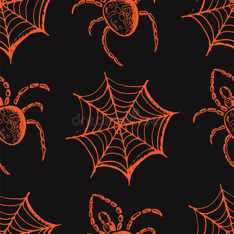 Hand drawn set of halloween attributes, orange webs and spiders on a gray background. Seamless pattern, hand drawn set of halloween attributes, orange webs and vector illustration