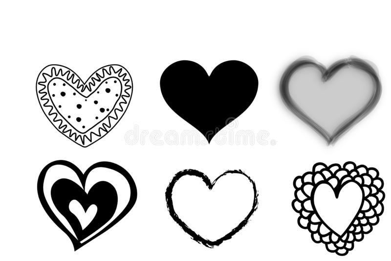 Hand drawn set of heart icons on white background. Illustration design. Love, retro, black, symbol, creative, concept, shape, couple, doodle, valentines royalty free stock photo