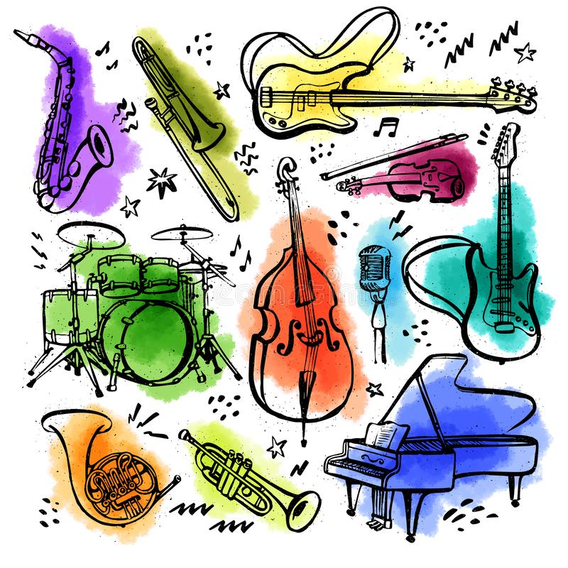 Hand drawn set of music instruments. Ink style vector illustration with watercolor stains on white background. royalty free illustration