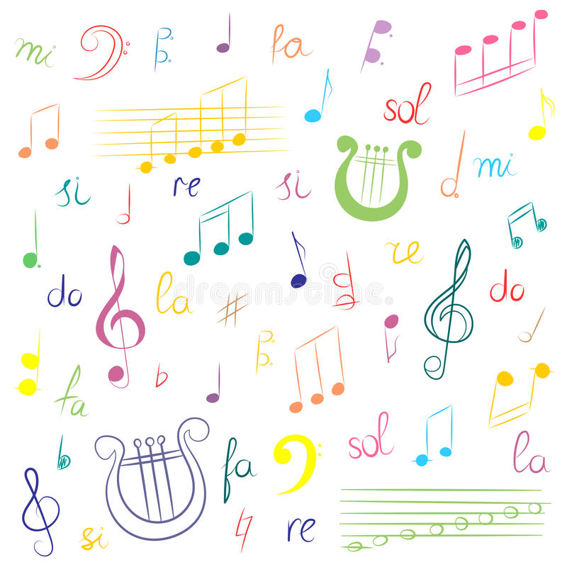 Hand Drawn Set Of Music Symbols Colorful Doodle Treble Clef Bass