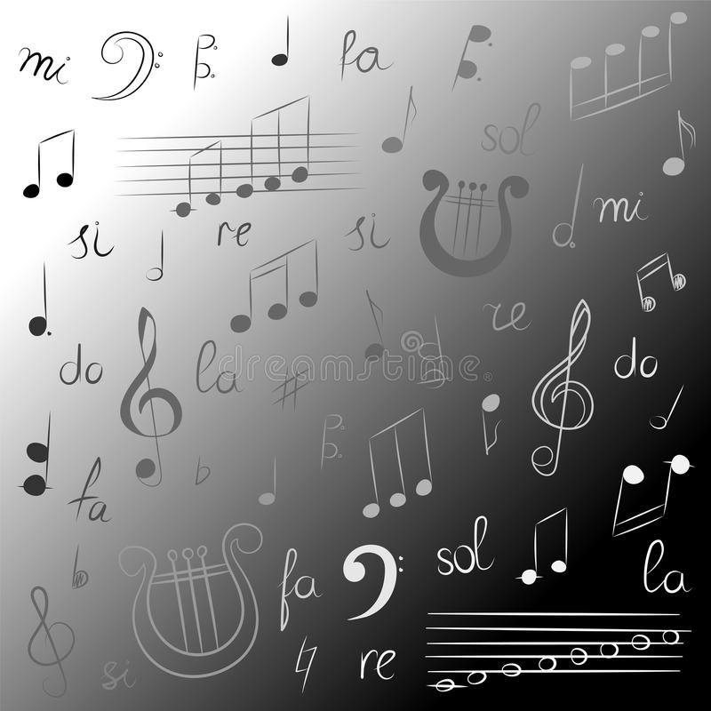 Hand Drawn Set of Music Symbols. Monochrome Doodle Treble Clef, Bass Clef, Notes and Lyre. Sketch Style. Vector Illustration royalty free illustration