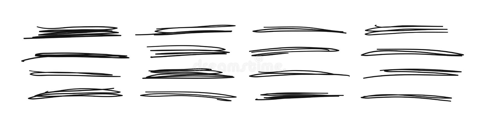 Hand drawn set of objects for design use. Black Vector doodle crossed out lines on white background. Abstract pencil drawing stock illustration