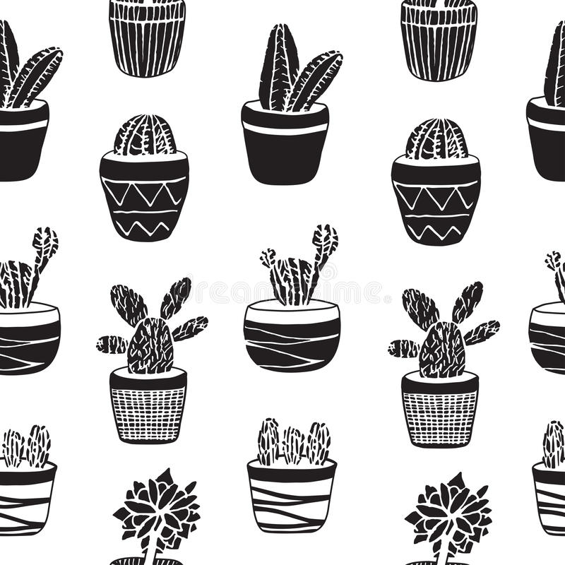 Free Hand Drawn Set Of Cactus In The Pots Stock Photos - 74974813