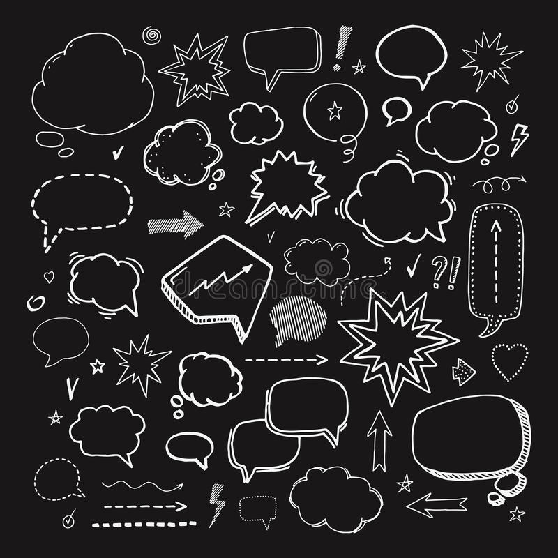 Hand drawn set of speech bubbles and elements royalty free illustration