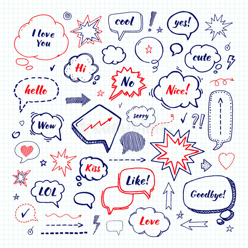 Hand drawn set of speech bubbles. Vector illustration vector illustration