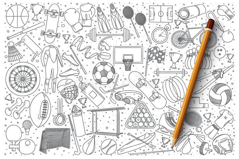 Sport doodle vector set stock illustration