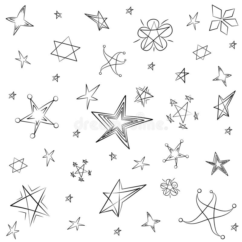 Hand Drawn Set Of Stars Children Drawings Of Funny Stars