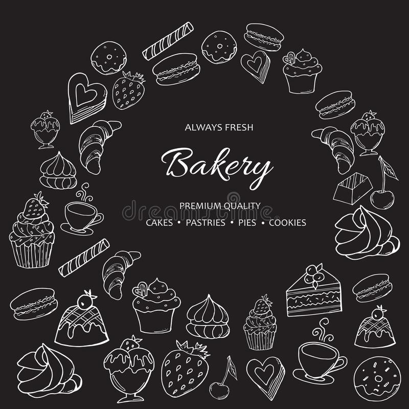 Hand drawn set of sweet bakery on chalkboard. vector illustration