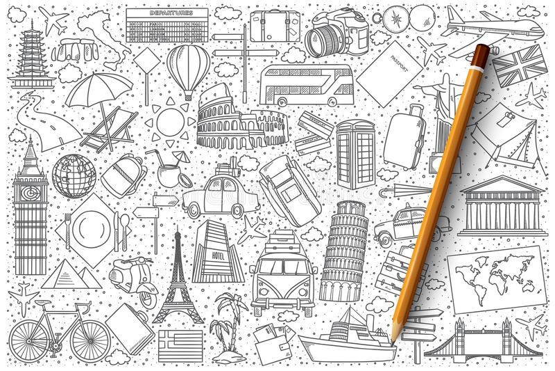 Travel doodle vector set royalty free illustration