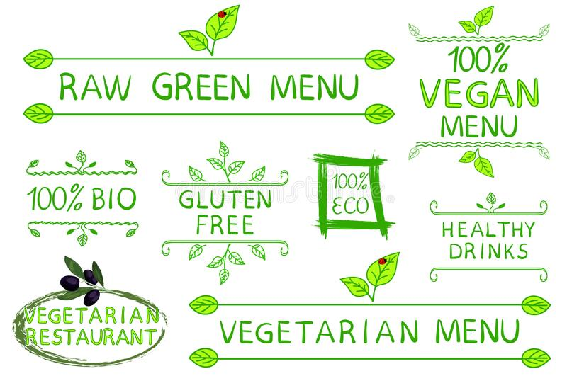 Hand drawn set of typographic elements isolated on white background. Raw, vegetarian and vegan menu. Vegetarian. Restaurant. Eco, gluten free, 100 bio products royalty free illustration