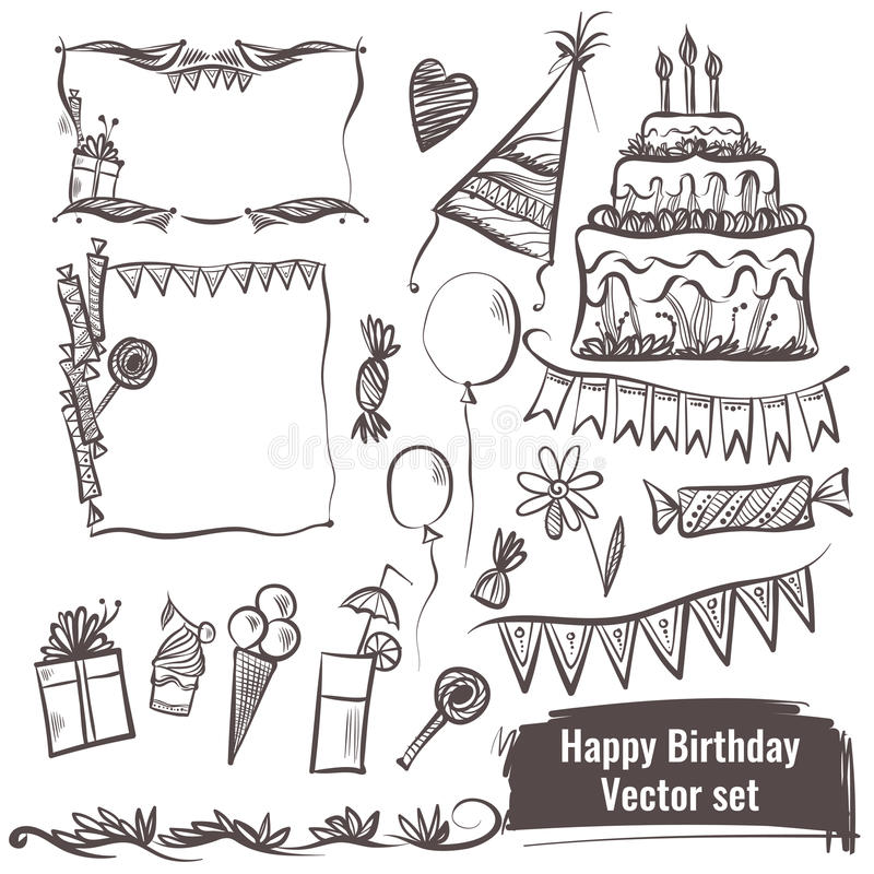 Hand drawn set of vector elements. Happy birthday. stock illustration