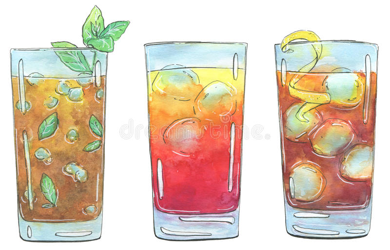 Hand drawn set of watercolor cocktails Long Island Iced Tea Sex. On the Beach Mai Tai on white background vector illustration