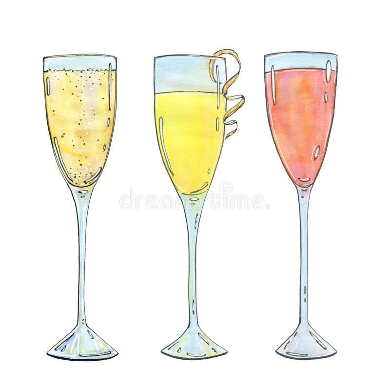Hand drawn set of watercolor cocktails Mimosa Bellini Champagne vector illustration