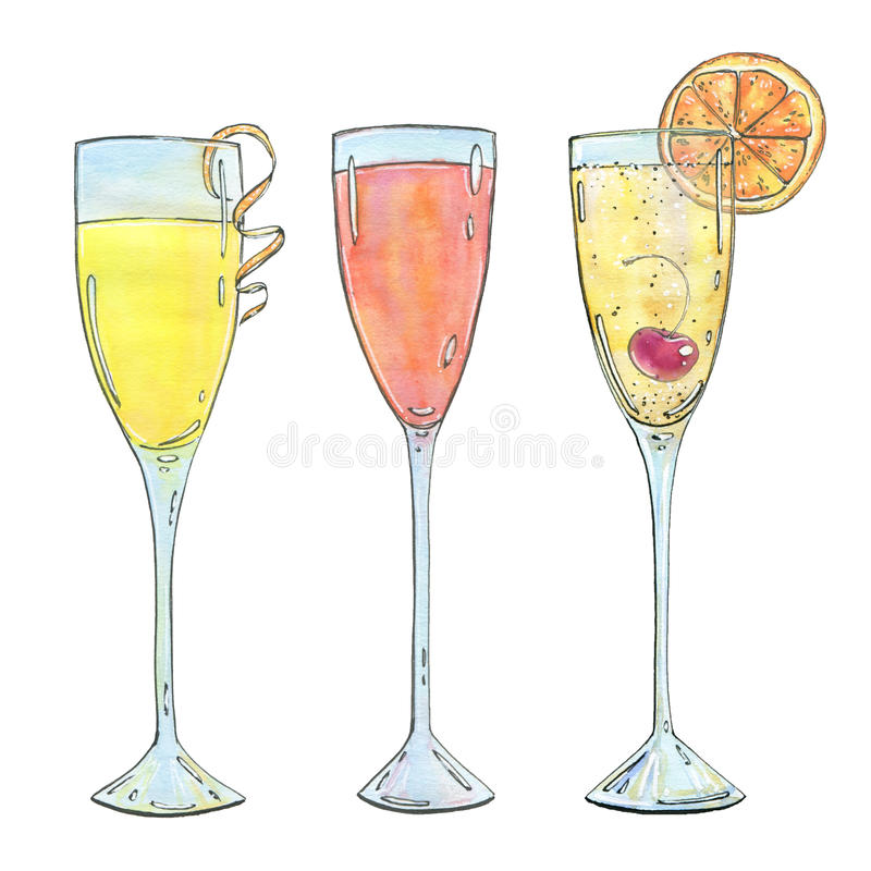 Hand drawn set of watercolor cocktails Mimosa Bellini Champagne. Cocktail on white background stock illustration