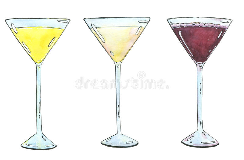 Hand drawn set of watercolor cocktails Yellow Bird Golden dream. Porto flip on white background royalty free illustration
