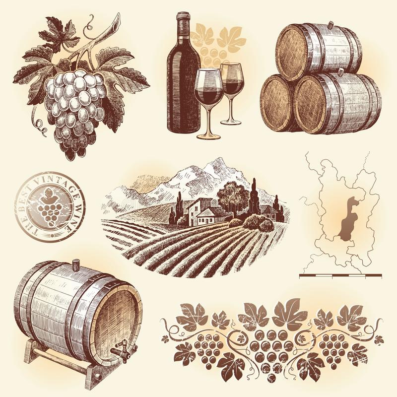 Hand drawn set - wine & winemaking royalty free illustration