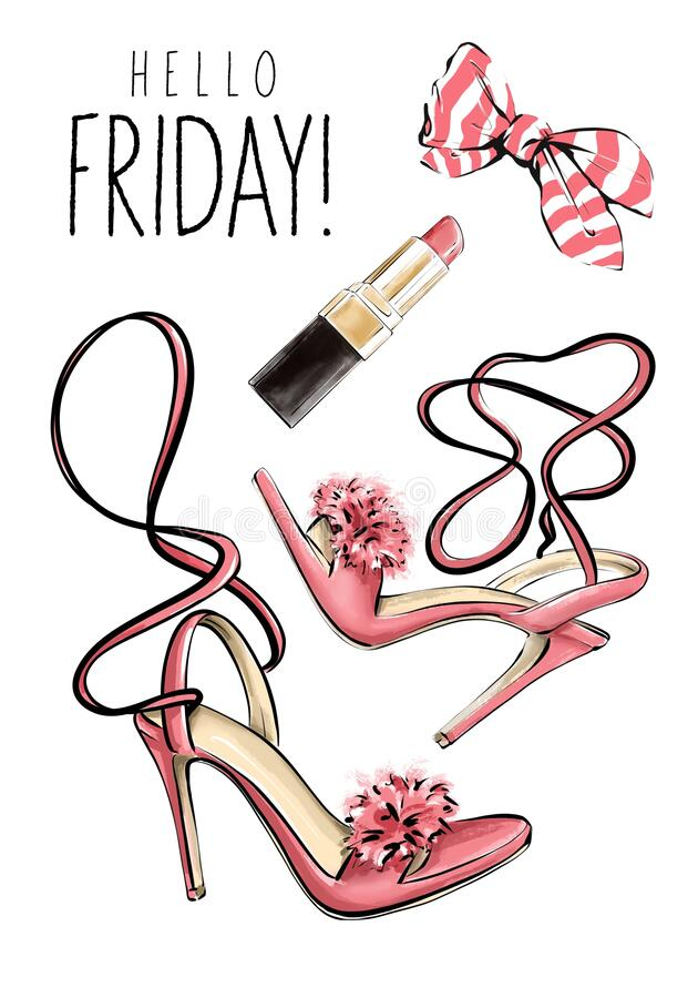 Free Hand Drawn Set With Lipstick, Bow And Woman Shoes With Pompoms. Beautiful Set With Cosmetics And Fashion Heels. Flat Lay. Stock Image - 189838511