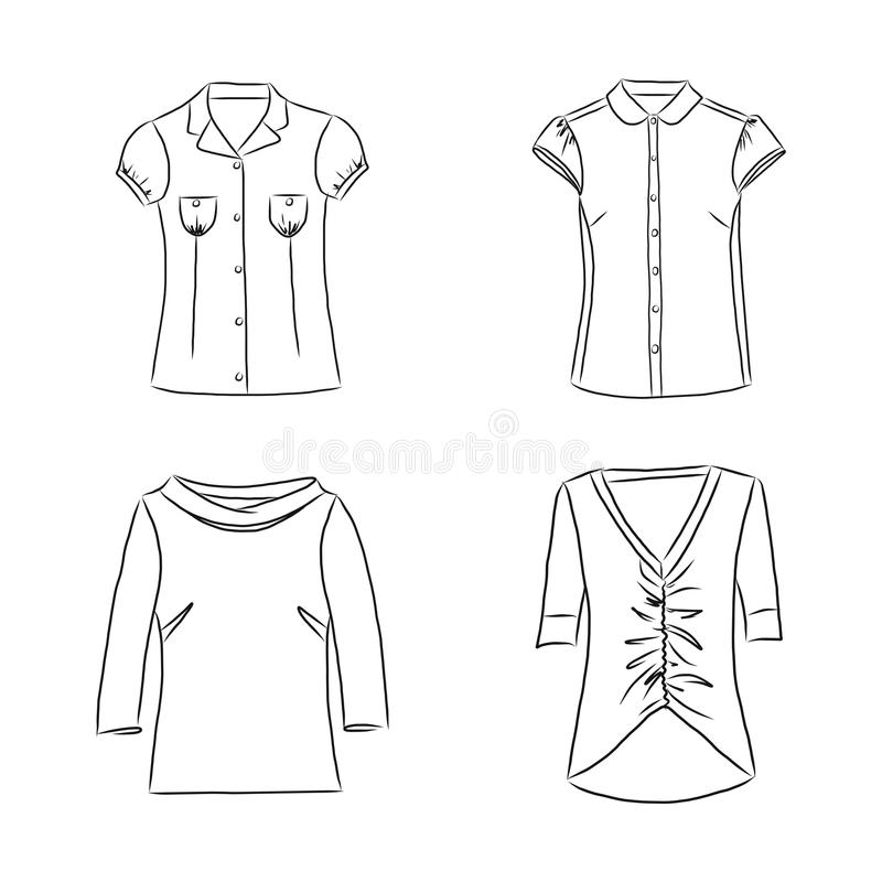 Hand drawn set with women`s clothes. Vector illustration for backgrounds, textile prints, web and graphic design vector illustration