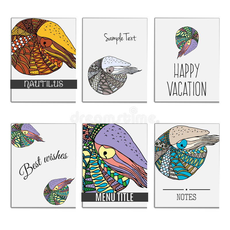 Hand drawn set zentangle colored nautilus for cards background templates. Concept for sea life aquariums, marine centers, diving. royalty free illustration