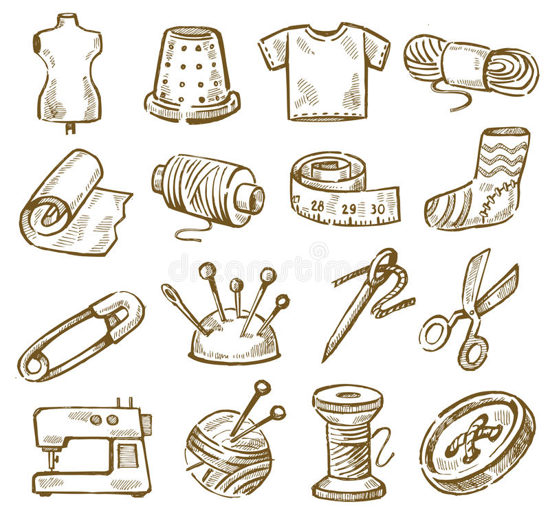 Hand Drawn Sewing Stock Photos