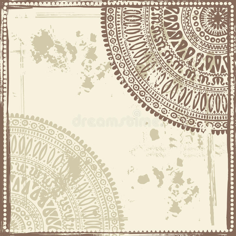 Hand drawn shabby indian background. Resembles the texture of Kraft paper. All objects are conveniently grouped and are easily editable vector illustration