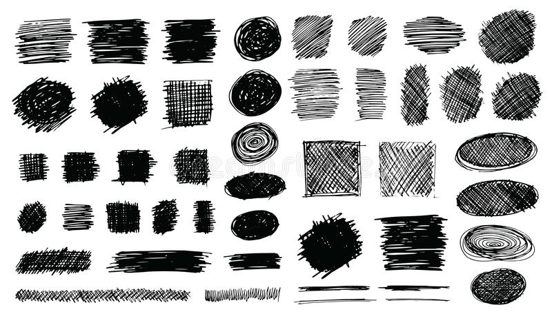 Hand Drawn Shaded Scribble Shapes royalty free illustration