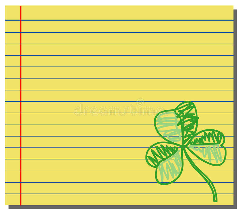 Hand Drawn Shamrock On Yellow Note Paper Stock Image
