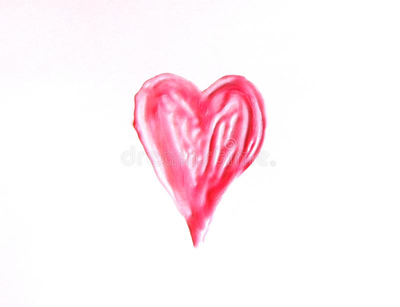 Hand drawn shape of the heart. Sample of pink lip gloss on a white background. Aids, balm, beaming, beauty, bronze, brown, brushstroke, care, cosmetic, cream stock photo