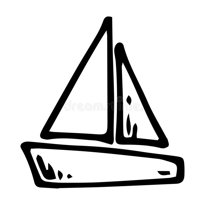 Hand drawn ship doodle. Sketch children's toy icon. Decoration element. Isolated on white background. Vector illustration. Ancient, art, boat, can, cruise stock illustration