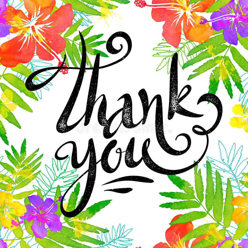 Hand drawn sign Thank you in bright tropic flowers frame in grunge watercolor style stock illustration