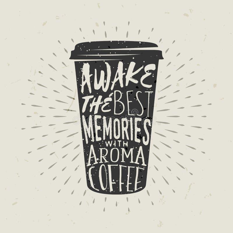 Hand-drawn silhouetdocument kop van koffie met het van letters voorzien vector illustratie
