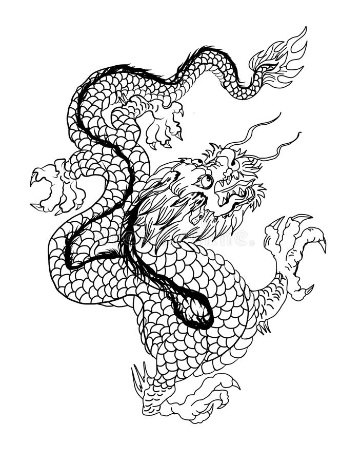 Chinese Dragon Tattoo Black And White Traditional Japanese