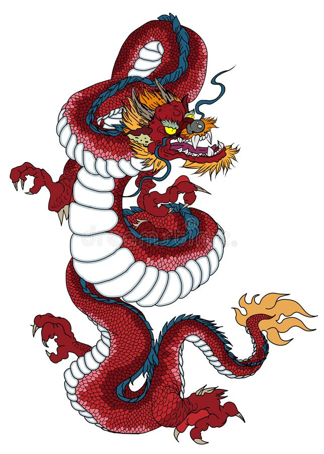 Red dragon is Magical creatures known in Chinese and Western literature.Dragon Animal tattoo design.Chinese dragon vector. stock illustration