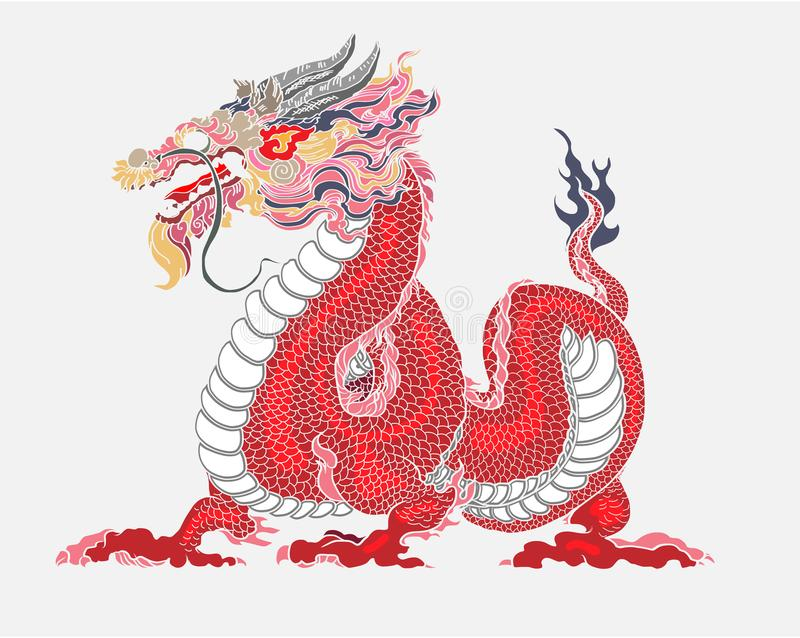 Red dragon is Magical creatures known in Chinese and Western literature.Dragon Animal tattoo design.Chinese dragon vector. royalty free illustration