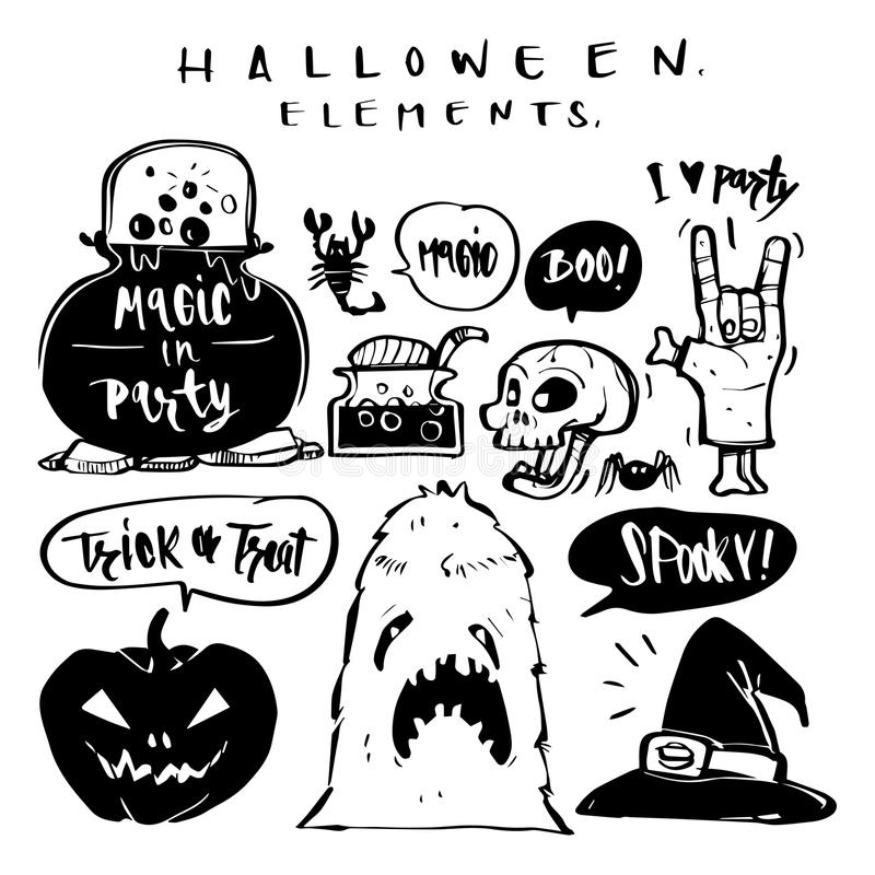 Hand drawn silhouette Happy Halloween and collection elements royalty free illustration