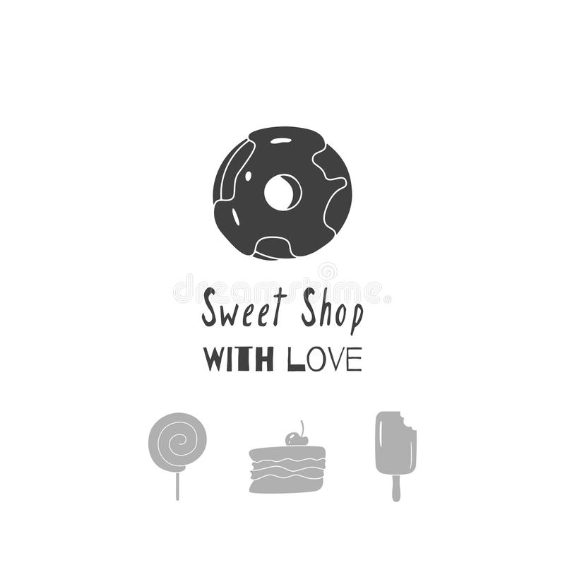 Hand Drawn Silhouettes. Sweet Shop Logo Template For Craft Food ...