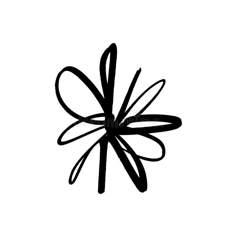 Hand drawn simple brush ink flower. Modern design grunge style element. Black vector symbol stock illustration