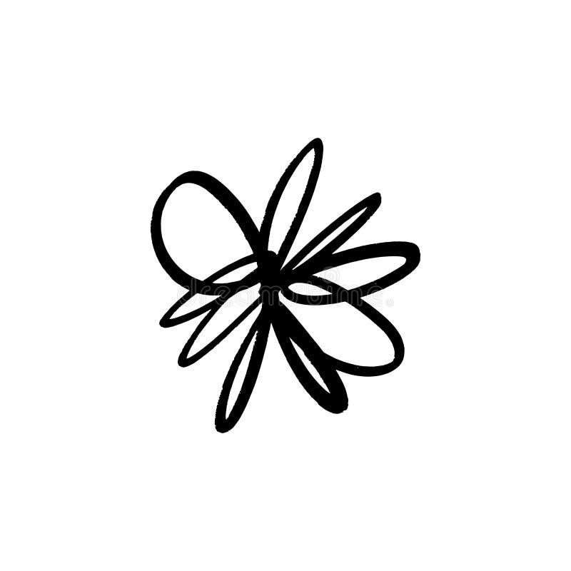 Hand drawn simple brush ink flower. Modern design grunge style element. Black vector symbol royalty free illustration