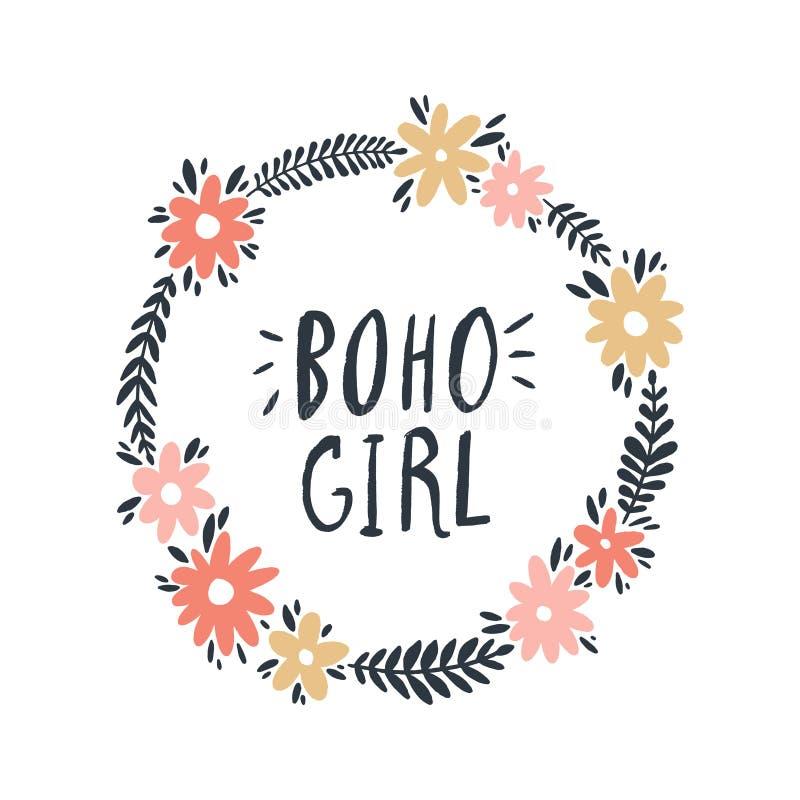 Hand drawn simple floral frame illustration. Boho hippie girl concept. Good for t-shirt prints royalty free illustration