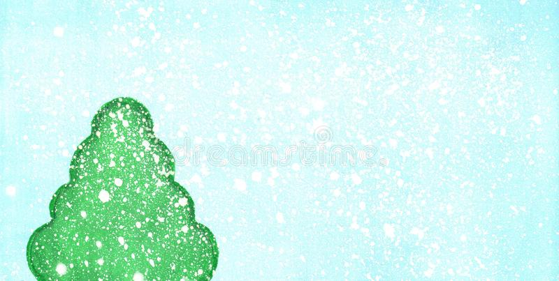 Hand drawn simple watercolor green fir-tree in winter stock images