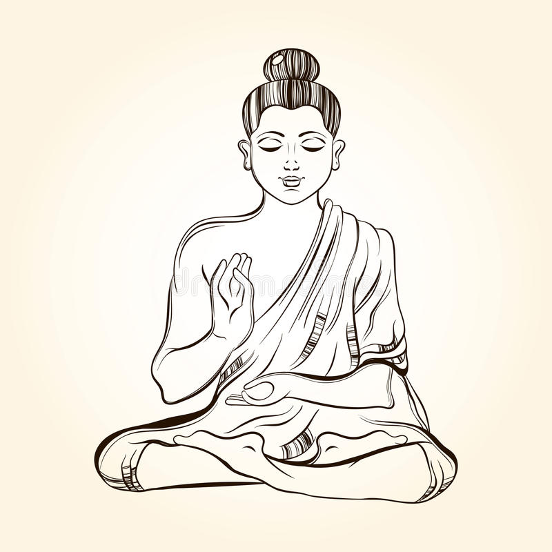Free Hand Drawn Sitting Buddha In Meditation. Sketch For Ritual Tatto Royalty Free Stock Photo - 58757205