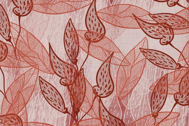 Hand drawn skeleton style transparent leaves Japanese style faded red, linen, texture unique fabric design pattern. Grunge antiqued background dyed look with royalty free illustration