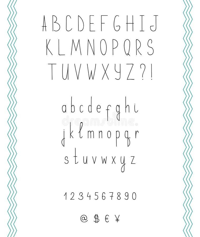 Hand drawn sketch alphabet. Handwritten font. royalty free illustration