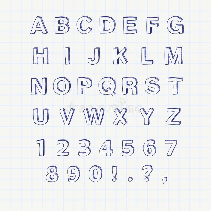 Hand drawn sketch alphabet. Handwritten font royalty free illustration