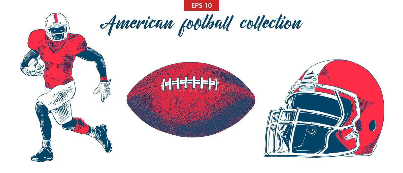 Hand drawn sketch of american football player, ball and helmet set isolated on white background. Detailed vintage etching drawing. Vector engraved style royalty free illustration