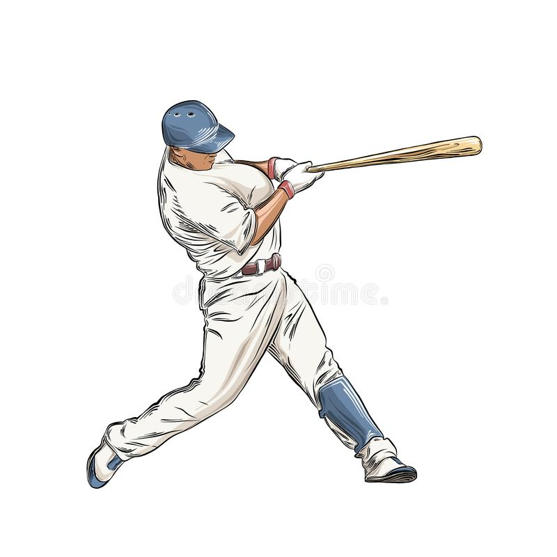 Hand drawn sketch of baseball player in color isolated on white background. Detailed vintage style drawing. Vector stock illustration