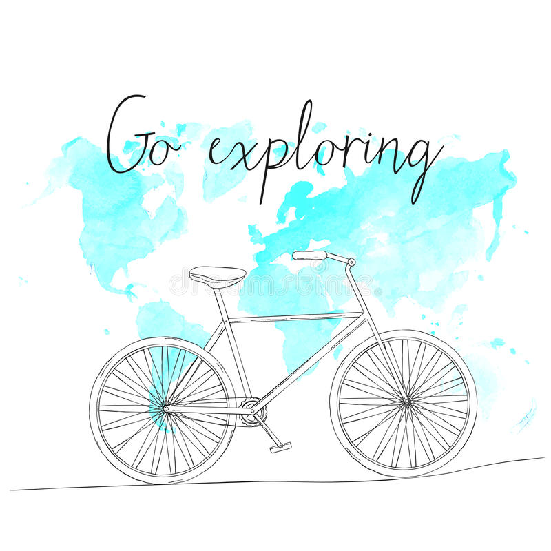 Hand drawn sketch bicycle on world map background royalty free illustration